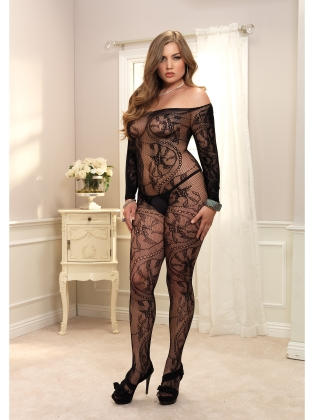 Stockings Plus Size Spiral Lace Bodystocking
