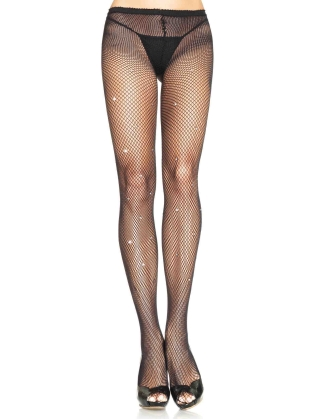 Stockings Fishnet Pantyhose with Rhinestones