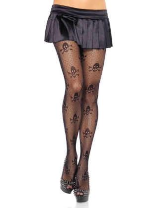 Stockings Micro Net Skull Print Pantyhose