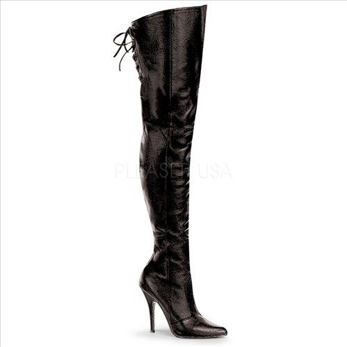5 Inch Heel Thigh Pointed Toe Black Leather Boots