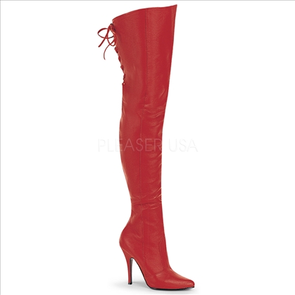 6 Inch Thigh High Red Leather Pointed Toe Boots