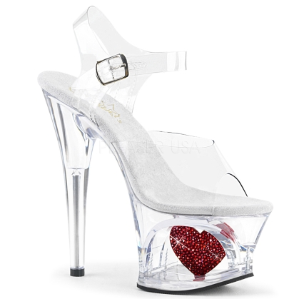 MOON-708HRS 7 inch Heel Clear Cut-Out Red Heart