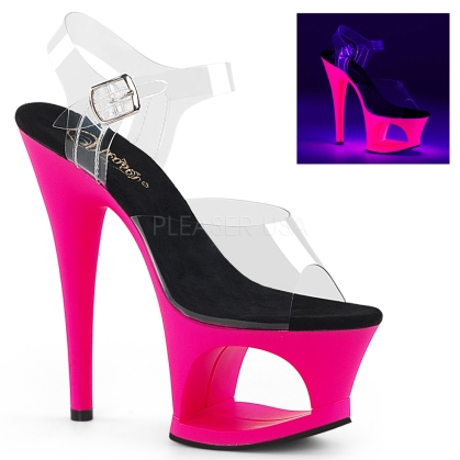 MOON-708UV 7 inch Heel Neon Hot Pink Cut-Out Pump