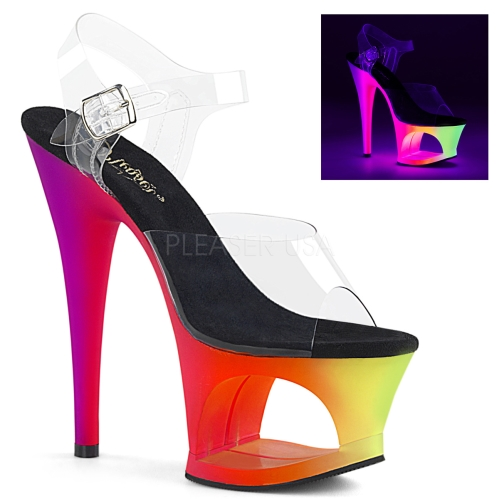 MOON-708UV 7 inch Heel Neon Multi Color Cut-Out