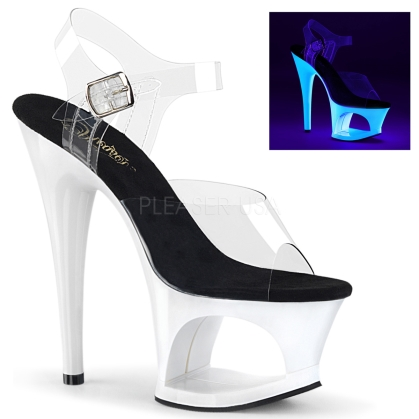 MOON-708UV Neon White Cut-Out Stripper Platforms
