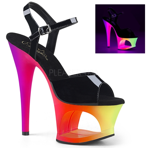 MOON-709UV Multi Color Cut-Out Black Top Platforms