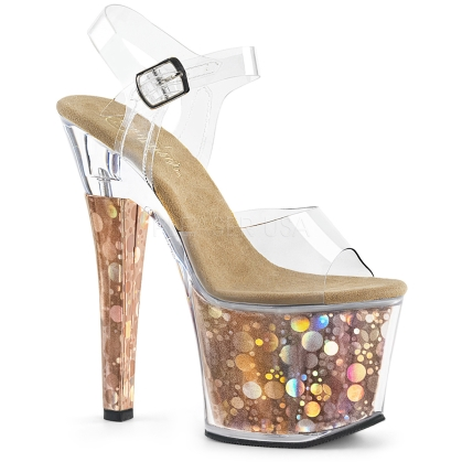 Bronze Bubble Holographic Exotic Dance Shoes