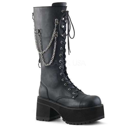 Black Vegan Leather Lace-Up Knee High Boot