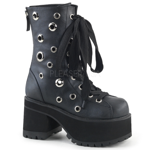 Black Vegan Leather Lace-Up Eyelet Ankle Boot