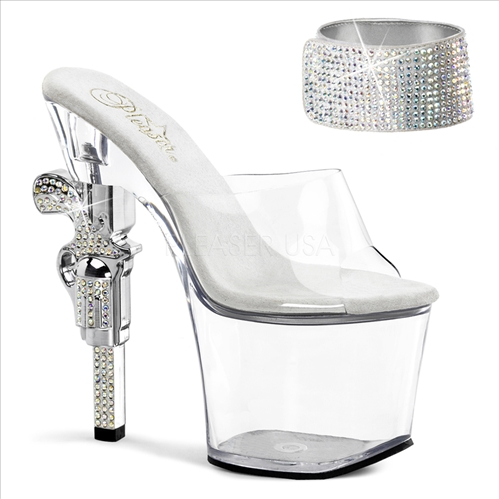 Rhinestones Ankle Strap Clear Revolver Heel Shoe