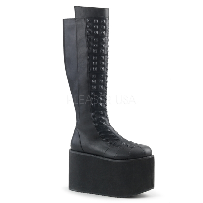 Black Vegan Leather Knee High Boot