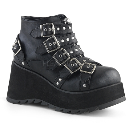 Black Vegan Leather Wedge Platform Ankle Bootie