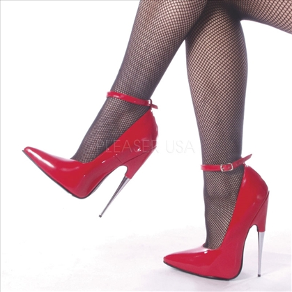 Spike Stiletto Heel Red Shiny Ankle Strap Shoes