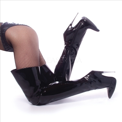 Metal Heel Thigh High Boot Black Patent Leather