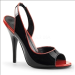 2 Toned Black With Red And A Peep Toe
