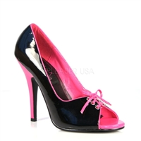 Pink Insole Shiny Black Patent Leather Heels