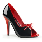 Contrast Piping Black Patent Red Accent Shoe