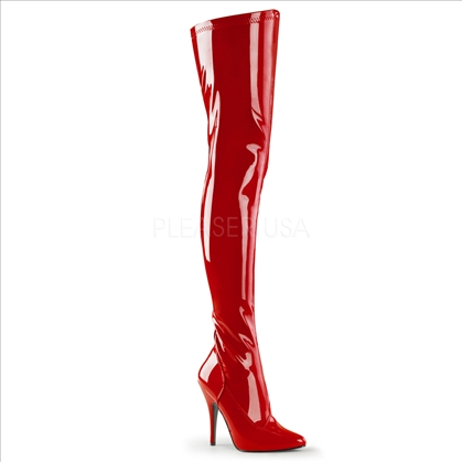 Stretch Red Patent Thigh High Boots Side Zipper