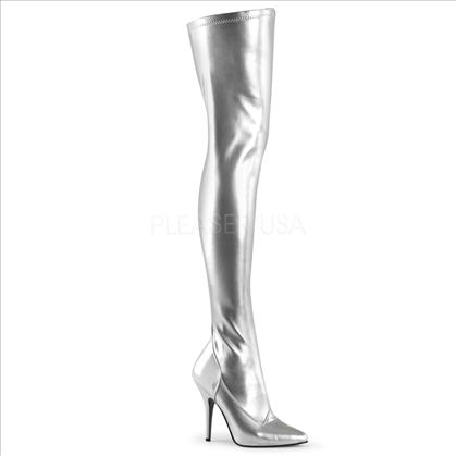 Stretch Silver Matte Thigh High Boots Side Zipper