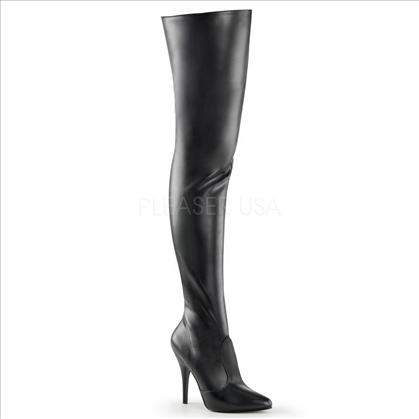 Stretch Black Matte Thigh High Boots Side Zipper