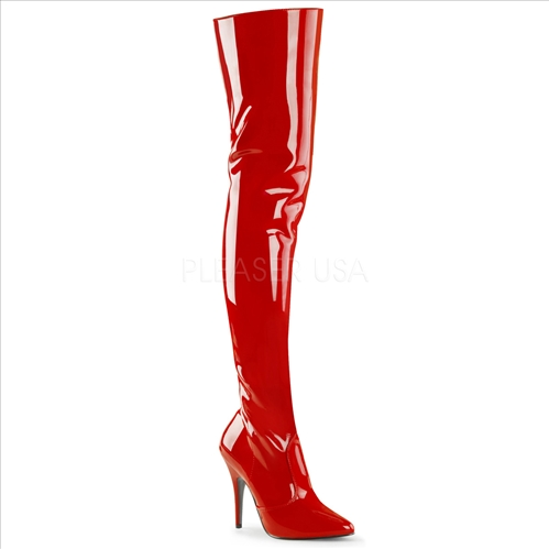Stretch Red Patent Thigh High Boots