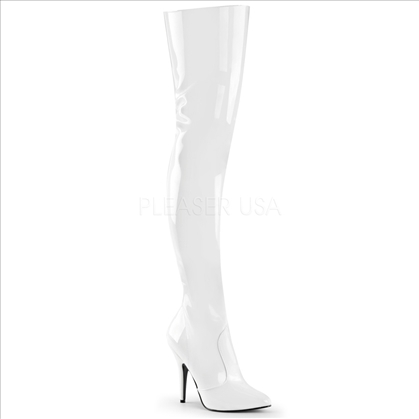 Stiletto Stretch White Patent Thigh High Boot