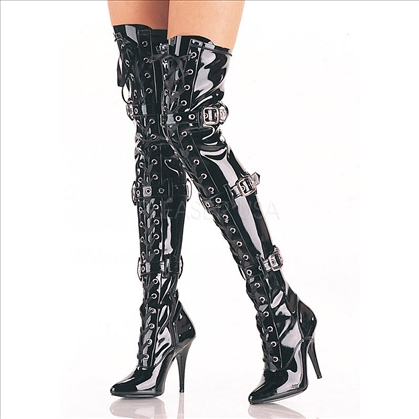 Black Shiny Patent Thigh High Boots With Buckles