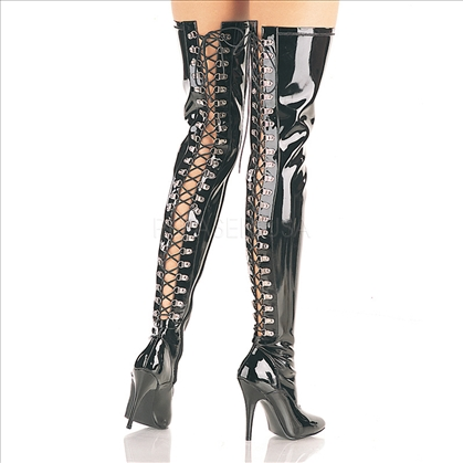 Black Patent Thigh High Boots Lace Up In Back