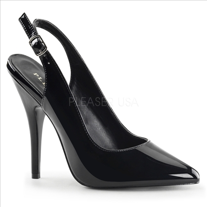 Slingback Shiny Black Patent Seductive Shoe