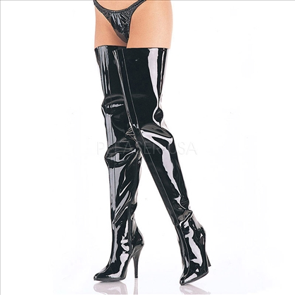 Black Patent Full Side Zipper Super Tall Boots