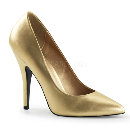 Gold Faux Leather Pointed Toe Flat Women Shoes