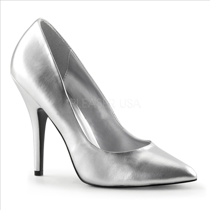 Savvy Sexy Silver Faux Leather 5 Inch Heel Pumps