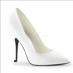 White Faux Leather 5 Inch Pumps Classic Style