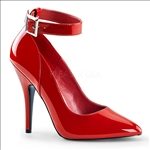 Half Inch Ankle Strap Hot Red Patent Leather Shoe
