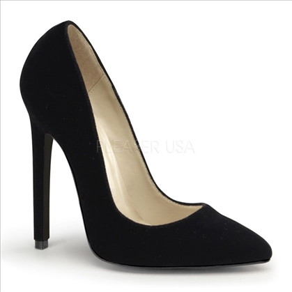 Black Velvet 5 Inch Heel Steep Slope Kinky Pumps