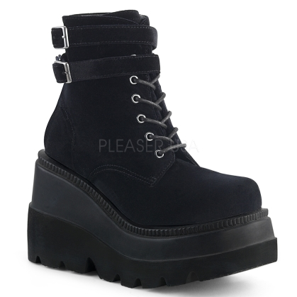 Black Velvet Wedge Platform Lace-Up Ankle Boot