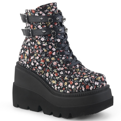 Floral Fabric Wedge Platform 2 Strap Ankle Boot