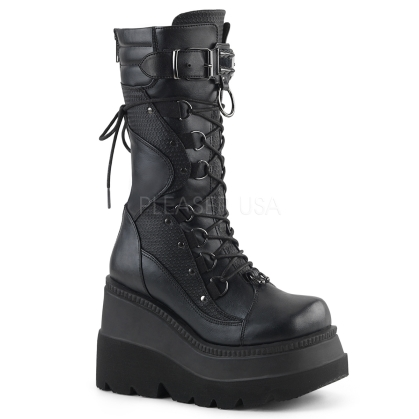 Demonia vegan leather wedge platform boots