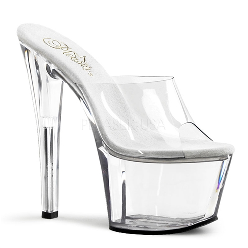 No Ankle Strap Exotic Dancer Clear Platform Pumps