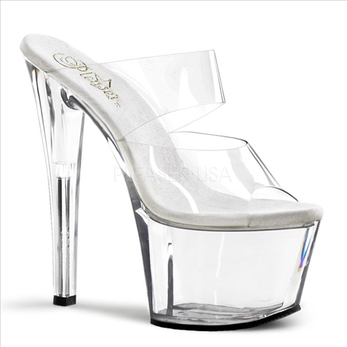 Clear Dual Band Strap 7inch Heel Sex Dance Shoe