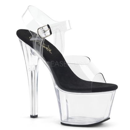 Clear Platform Black Sole Ankle Strap Exotic Shoe