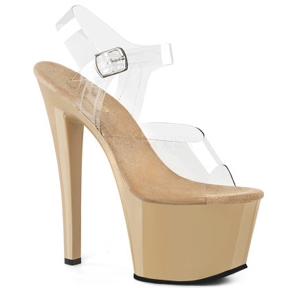 SKY-308 7 inch Heel  Cream & Clear Exotic Shoes