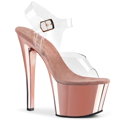 Rose Gold Chrome Ankle Strap Platform Exotic Shoe
