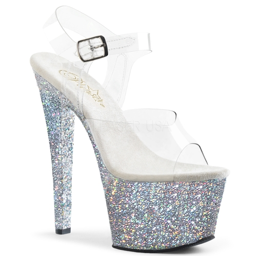 Silver Holographic Glitter Exotic Dance Shoe