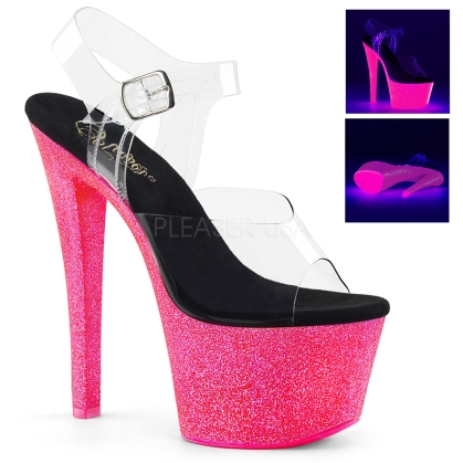 Neon Hot Pink Glitter Exotic Stripper Dance Shoe