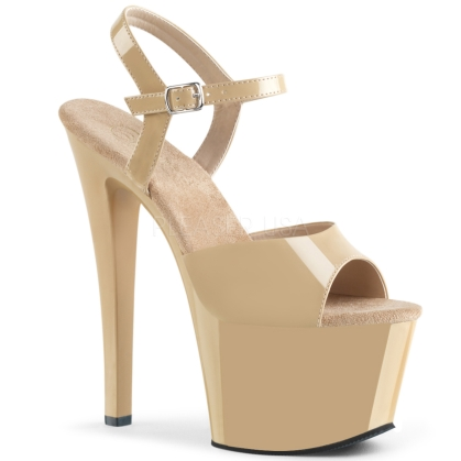 SKY-309 7 inch Heel Cream Patent Ankle Straps