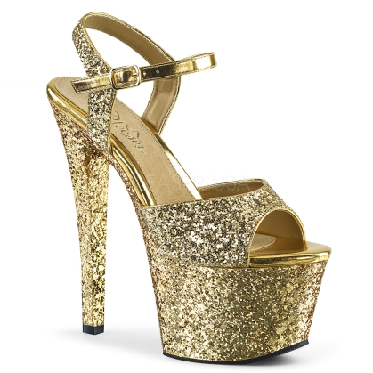 Gold Glitter 7 Inch Heel Exotic Platform Shoes