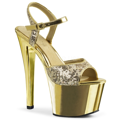 Gold Sequin Gold Chrome Exotic Dance Shoe