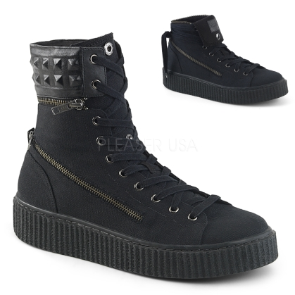 Domonia SNEEKER-270 LaceUp Black Canvas High Tops