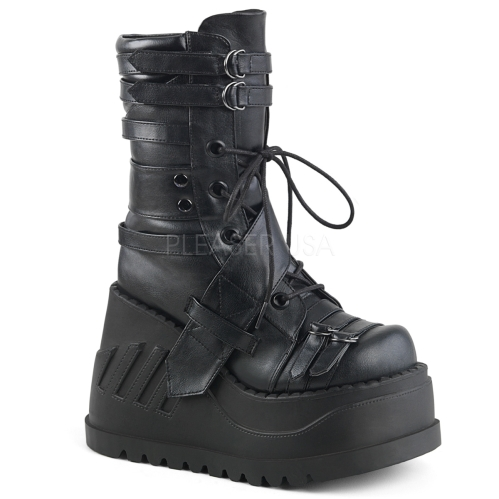 Domonia STOMP-26 Black Vegan Wedge  Mid-Calf Boot